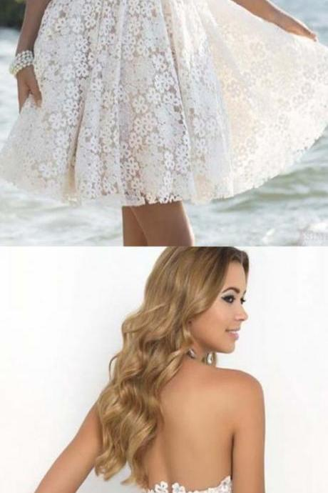 Empire White Homecoming Dresses Hollow Sleeveless Lace Sweetheart Neckline Mid-Calf Homecoming Dress