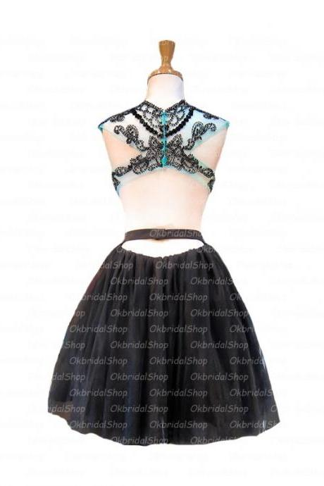 Aline Black Homecoming Dresses Open Back Sleeveless Embroidered High necked Above Knee Homecoming Dress