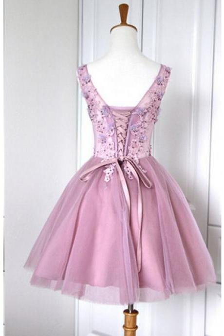 A-Line/Column Lilac Homecoming Dresses Lace-Up Sleeveless Embroidered V-Neck Scoop Above Knee Homecoming Dress