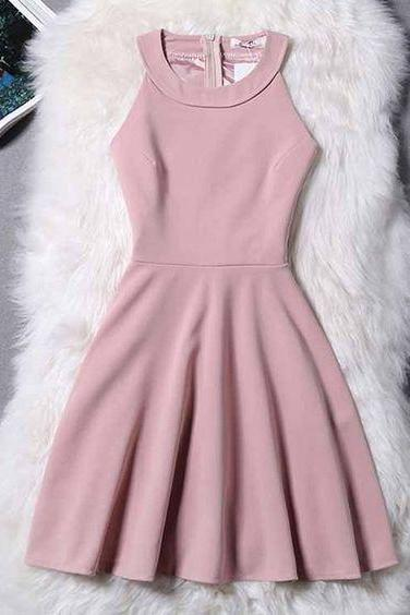 A lines Pearl Pink Homecoming Dresses Zipper-Up Sleeveless Hem Haltered Mini Homecoming Dress
