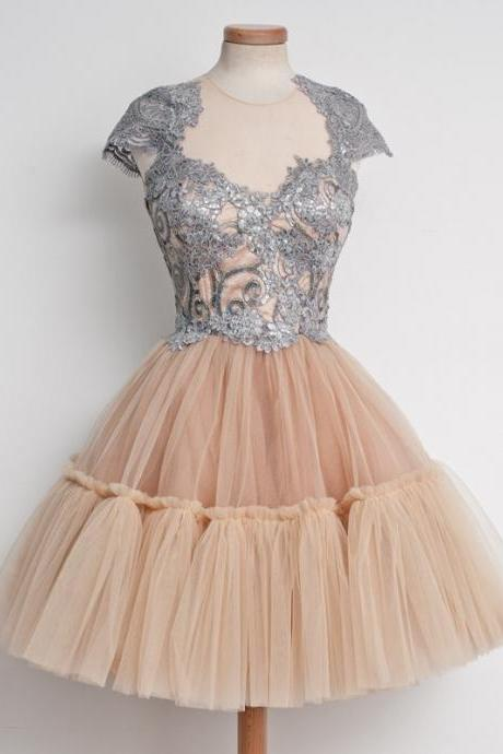 Ball Gowns Champagne Homecoming Dresses Zippers Capped Sleeves Lace Jewels Knee-length Homecoming Dress