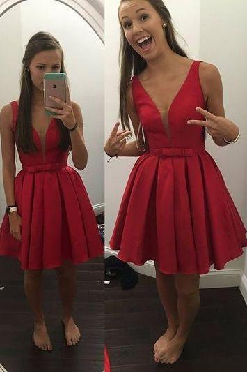 A Line Red Homecoming Dresses Open Back Sleeveless Applique/Beading/Sequins V-Neck Scoop Short Homecoming Dress