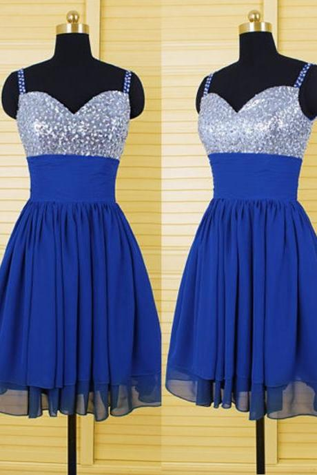 Empire Blue Homecoming Dresses Hollow Spaghetti Strap Sequins Strap Short Homecoming Dress