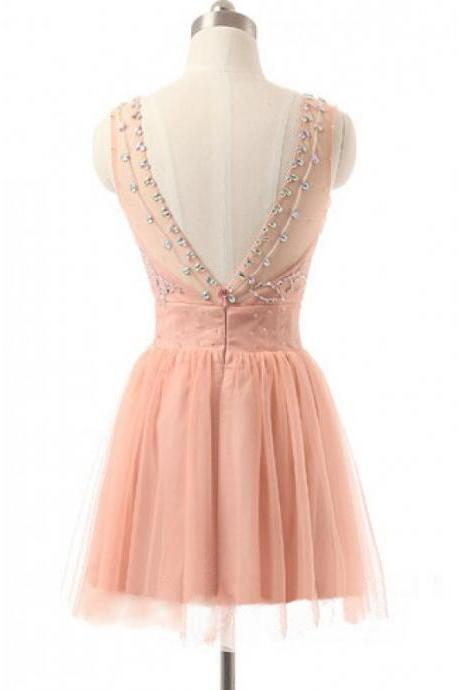 A-Line/Column Pearl Pink Homecoming Dresses Open Back Sleeveless Tulle Round Neck Knee-length Homecoming Dress