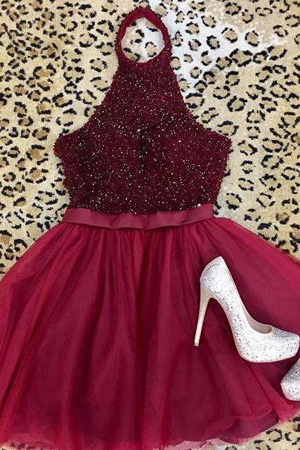 A-Line/Column Wine Homecoming Dresses Open Back Sleeveless Beadings Haltered Above Knee Homecoming Dress