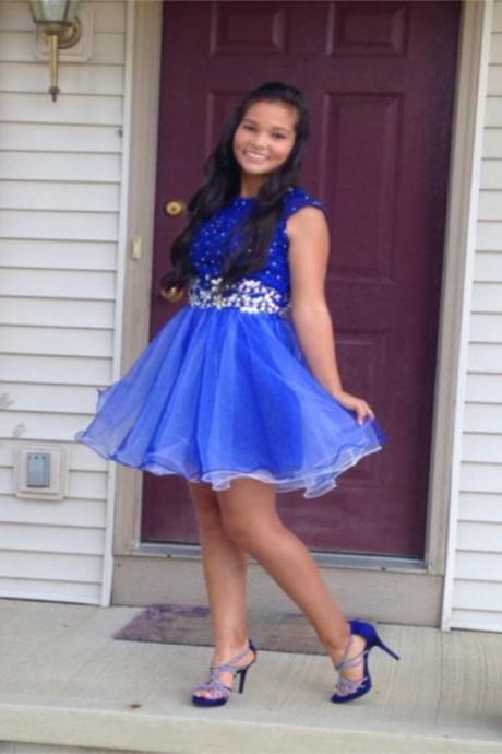 A lines Royal Blue Homecoming Dresses Zippers Sleeveless Beadings O-neck Short Homecoming Dress