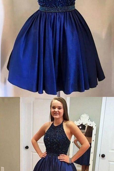 Ball Gowns Royal Blue Homecoming Dresses Hollow Sleeveless Chiffon O-neck Short Homecoming Dress