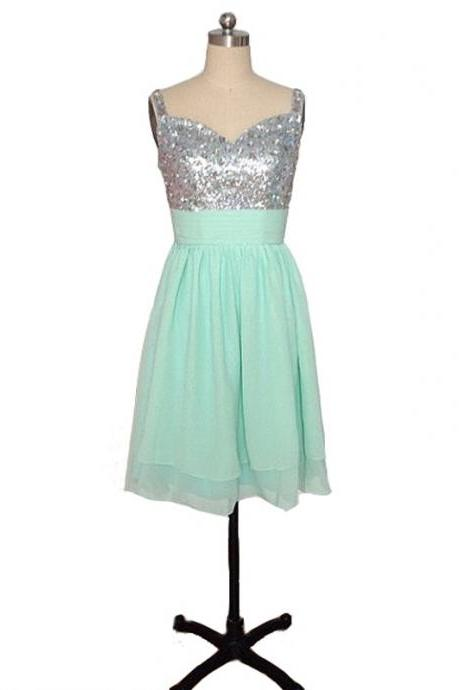 A lines Sage Homecoming Dresses Hollow Sleeveless Sequins Sweetheart Neckline Above Knee Homecoming Dress