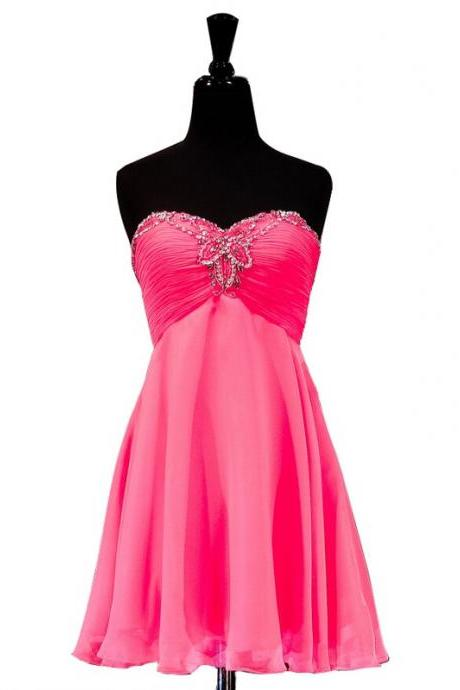 Empire Pink Homecoming Dresses Zipper-Up Sleeveless Chiffon Sweetheart Neckline Mini Homecoming Dress