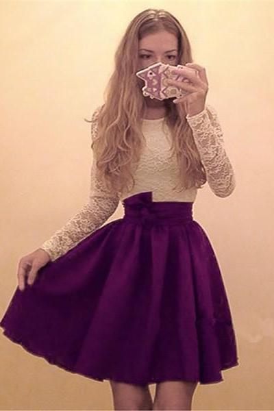 A Line Purple Homecoming Dresses Zipper-Up Long Sleeves Lace Round Neck Above-Knee Homecoming Dress