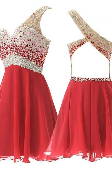 A-Line/Column Red Homecoming Dresses Side-Zipper Sleeveless Beadings One Sleeve Mini Homecoming Dress