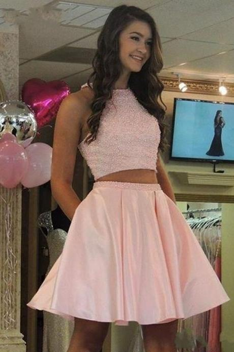 A-Line/Column Pink Homecoming Dresses Zippers Sleeveless Beadings Jewels Mini Homecoming Dress