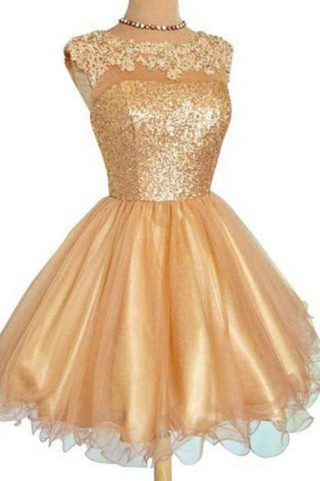 A Line Golden Homecoming Dresses Zippers Sleeveless Sequins Bateau Mini Homecoming Dress