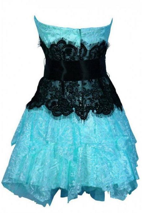 A lines Blue Homecoming Dresses Open Back Sleeveless Lace Strapless Mini Homecoming Dress