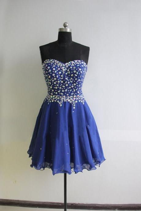 A lines Royal Blue Homecoming Dresses Hollow Sleeveless Crystal Beads Ruffle Sweetheart Neckline Short Homecoming Dress