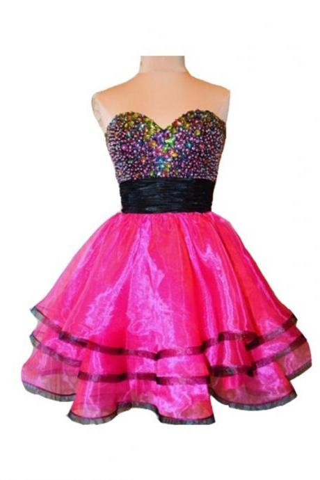 A Line Pink Homecoming Dresses Zipper-Up Sleeveless Beadings Sweetheart Neckline Above-Knee Homecoming Dress