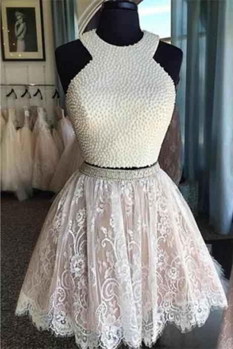 A lines Ivory Homecoming Dresses Sheer Back Sleeveless Crystal Beads Ruffle Haltered Above-Knee Homecoming Dress