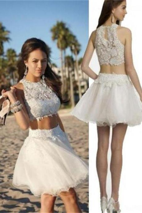 Aline White Homecoming Dresses Appliques Sleeveless Lace Scoop Short Homecoming Dress