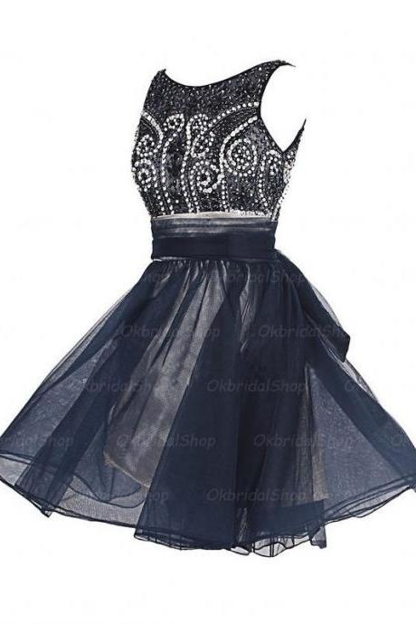 A-Line/Column Black Homecoming Dresses Open Back Sleeveless Beaded Scoop Mini Homecoming Dress