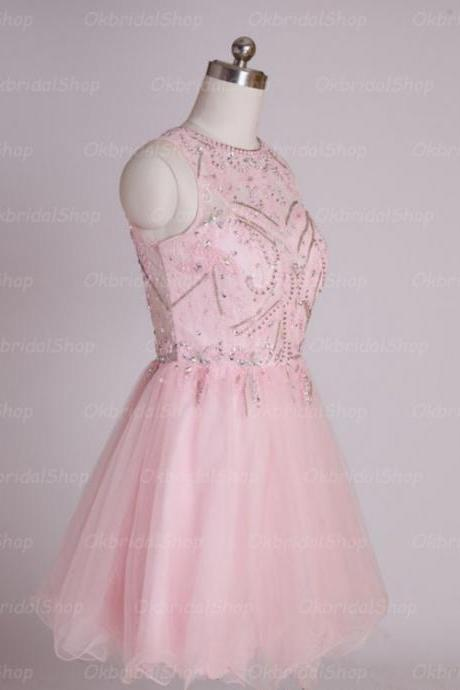 A-Line/Column Pink Homecoming Dresses Hollow Sleeveless Beaded Scoop Mini Homecoming Dress