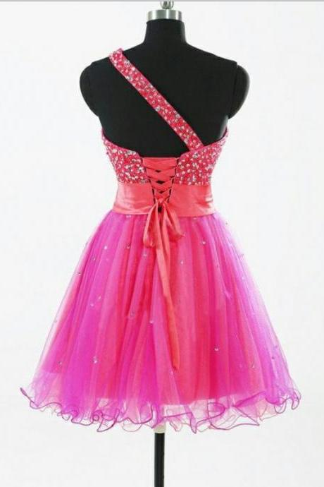 Empire Pink Homecoming Dresses Laced Up Sleeveless Bandage One shoulder Above Knee Homecoming Dress