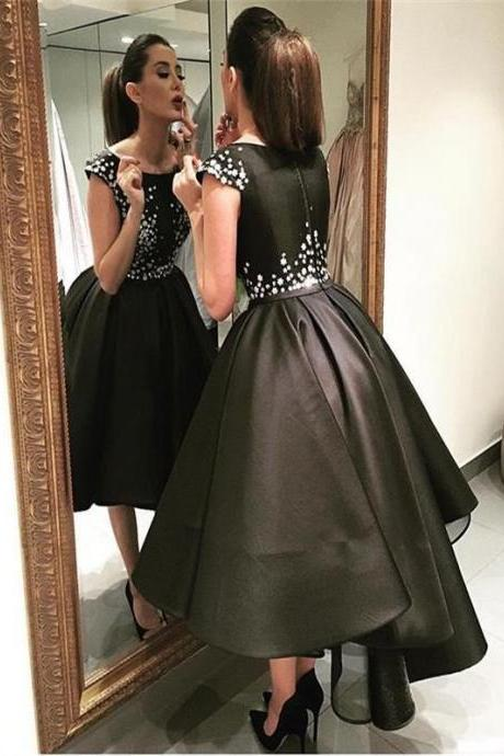 Ball Gowns Black Homecoming Dresses Zipper-Up Sleeveless Beaded Scoop Hi-Lo Homecoming Dress