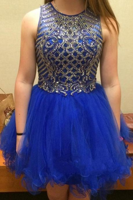 A lines Royal Blue Homecoming Dresses Zipper-Up Sleeveless Beaded Round Neck Short Homecoming Dress