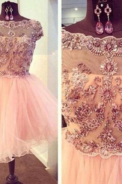 A Line Light Champagne Homecoming Dresses Hollow Capped Sleeves Flowers O-neck Above Knee Homecoming Dress