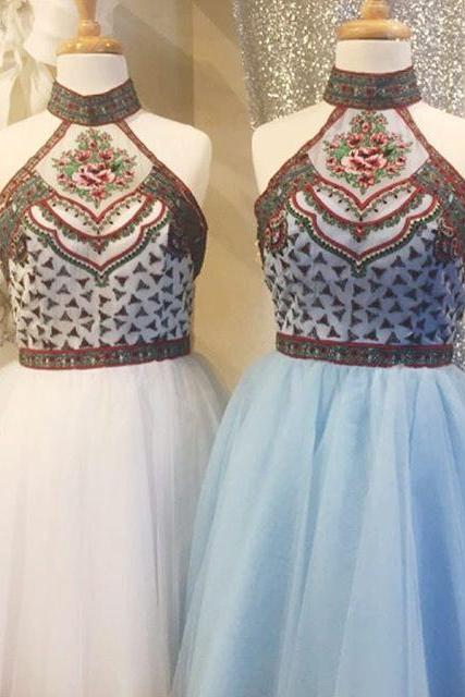 A lines White Homecoming Dresses Zipper-Up Sleeveless Embroidered High Collar Above Knee Homecoming Dress