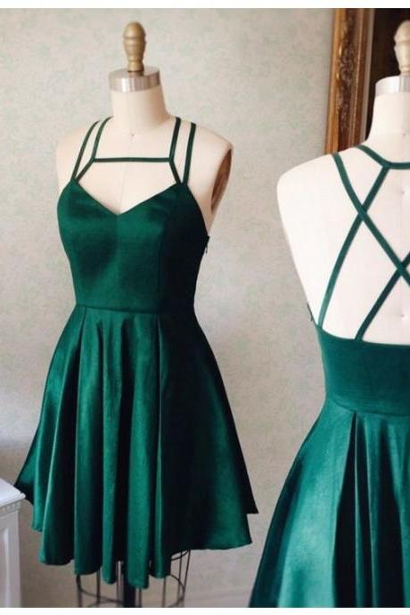 Aline Dark Green Homecoming Dresses Side-Zipper Sleeveless Goffer Square Neck Above Knee Homecoming Dress