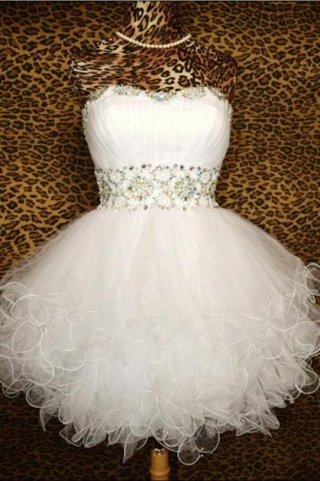 A lines White Homecoming Dresses Lace-Up Sleeveless Rhinestone Sweetheart Neckline Mini Homecoming Dress