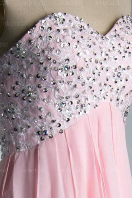 Aline Pink Homecoming Dresses Open Back Sleeveless Beaded Sweetheart Neckline High-Low Homecoming Dress