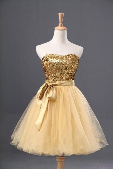 A lines Golden Homecoming Dresses Sheer Back Sleeveless Tulle Sweetheart Neckline Mini Homecoming Dress