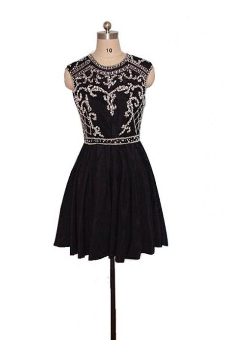 A Line Black Homecoming Dresses Open Back Sleeveless Beaded Round Neck Short Homecoming Dress