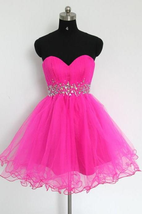 Empire Pink Homecoming Dresses Zippers Sleeveless Crystal Beads Ruffle Sweetheart Neckline Above Knee Homecoming Dress