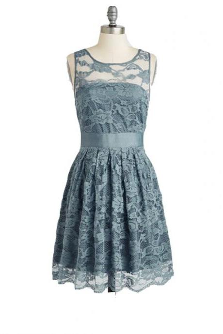 A Line Grey Homecoming Dresses Zippers Sleeveless Lace Round Neck Short Homecoming Dress