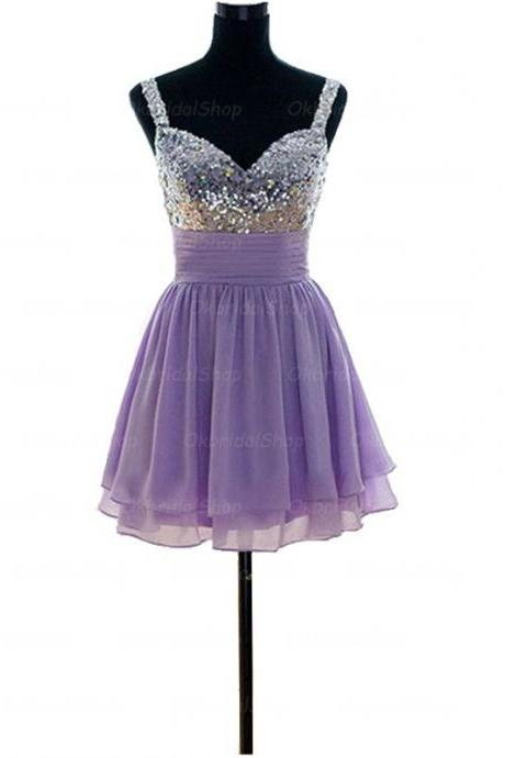 A-Line/Column Purple Homecoming Dresses Laced Up Spaghetti Strap Hem Strap Mini Homecoming Dress