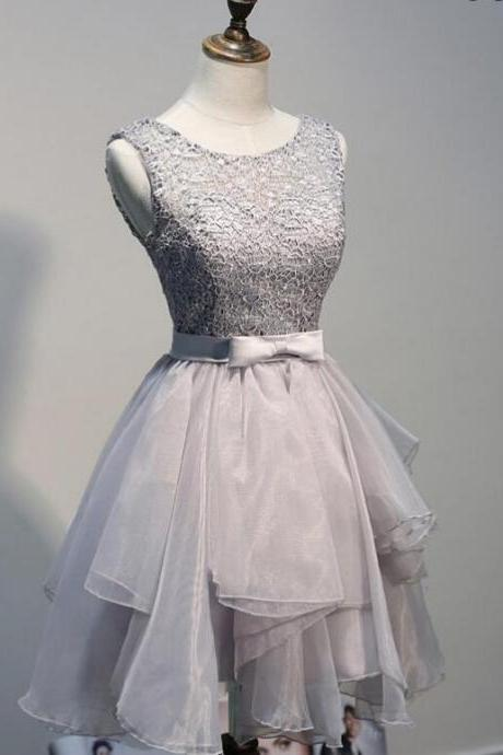 A Line Grey Homecoming Dresses Open Back Sleeveless Lace Round Neck Short Homecoming Dress