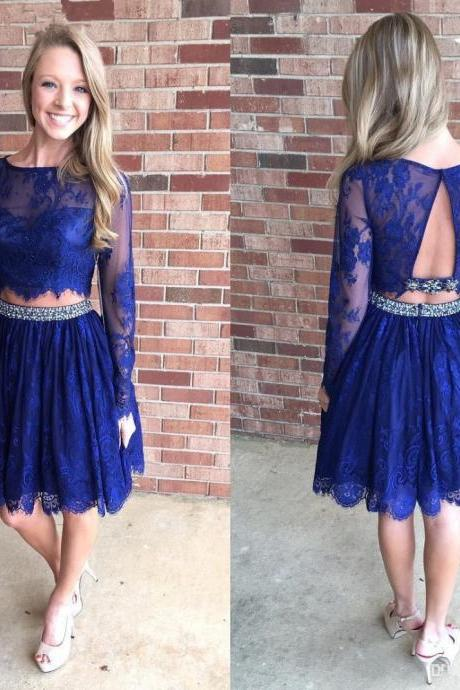 Aline Royal Blue Homecoming Dresses Sheer Back Long Sleeves Lace O-neck Knee-length Homecoming Dress