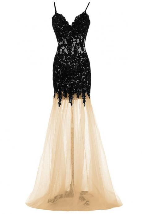Sheath/Column Black Homecoming Dresses Sheer Back Spaghetti Strap Lace Spaghetti Straps Floor Length Homecoming Dress