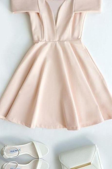 No Pink Homecoming Dresses Side-Zipper Off The Shoulder Pearl Detailing V-Neck Scoop Above Knee Homecoming Dress