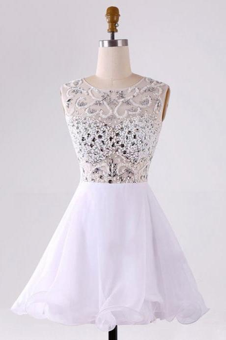 A lines White Homecoming Dresses Zipper-Up Sleeveless Beadings Bateau Short Homecoming Dress