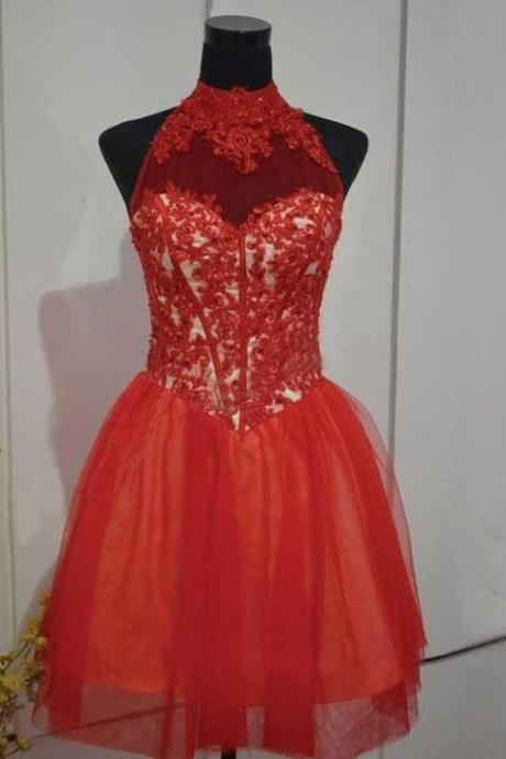 A Line Red Homecoming Dresses Open Back Sleeveless Lace High-neck Mini Homecoming Dress