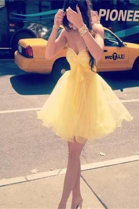 Aline Yellow Homecoming Dresses Zipper-Up Sleeveless Tulle Sweetheart Neckline Above Knee Homecoming Dress
