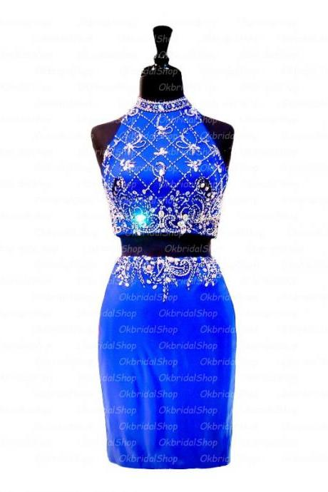 Bodycon Blue Homecoming Dresses Open Back Sleeveless Beaded Haltered Above Knee Homecoming Dress