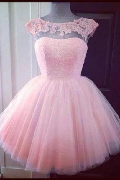 A-Line/Princess Pink Homecoming Dresses Open Back Cap Sleeve Appliqued Bateau Above-Knee Homecoming Dress