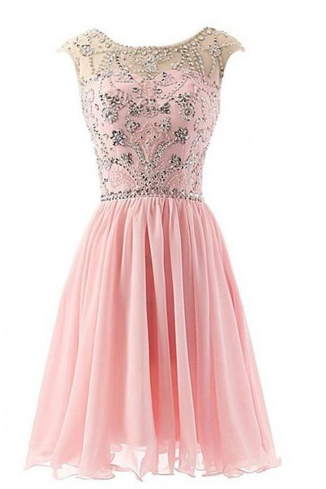 Aline Pink Homecoming Dresses Zippers Capped Sleeves Crystal Beads Ruffle Bateau Mini Homecoming Dress