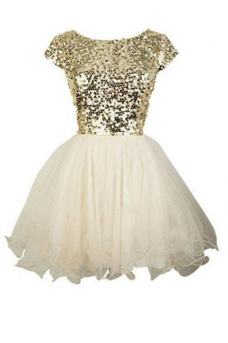 A Line Golden Homecoming Dresses Zipper-Up Cap Sleeve Sequins Round Neck Above Knee Homecoming Dress