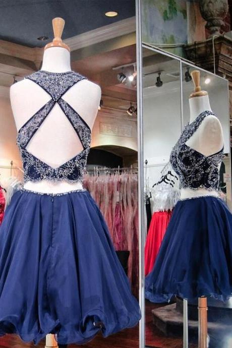 A-Line/Column Dark Blue Homecoming Dresses Criss-Cross Straps Sleeveless Rhinestone O-neck Mini Homecoming Dress
