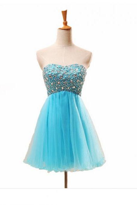 Empire Blue Homecoming Dresses Laced Up Sleeveless Crystal Beads Ruffle Sweetheart Neckline Short Homecoming Dress